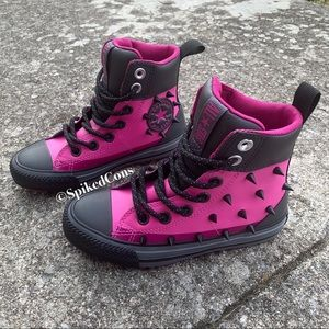 Pink & Black Converse Spiked Boots